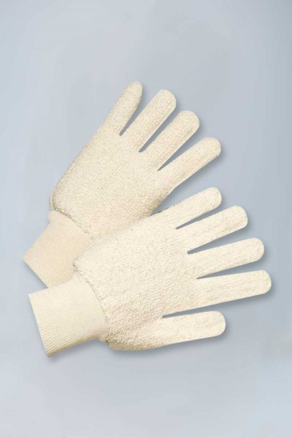 100% cotton double-palm loop out terry gloves