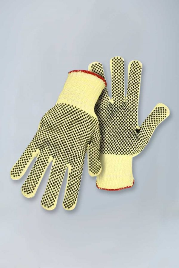 Cut resistant string knit gloves with pvc dots