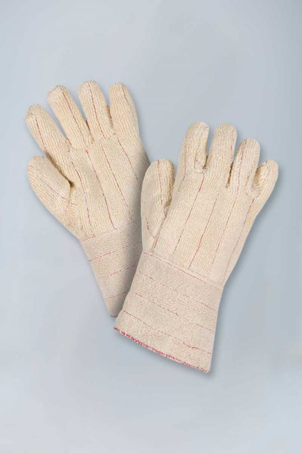 Extra heavy weight loop out terry gauntlet cuff gloves
