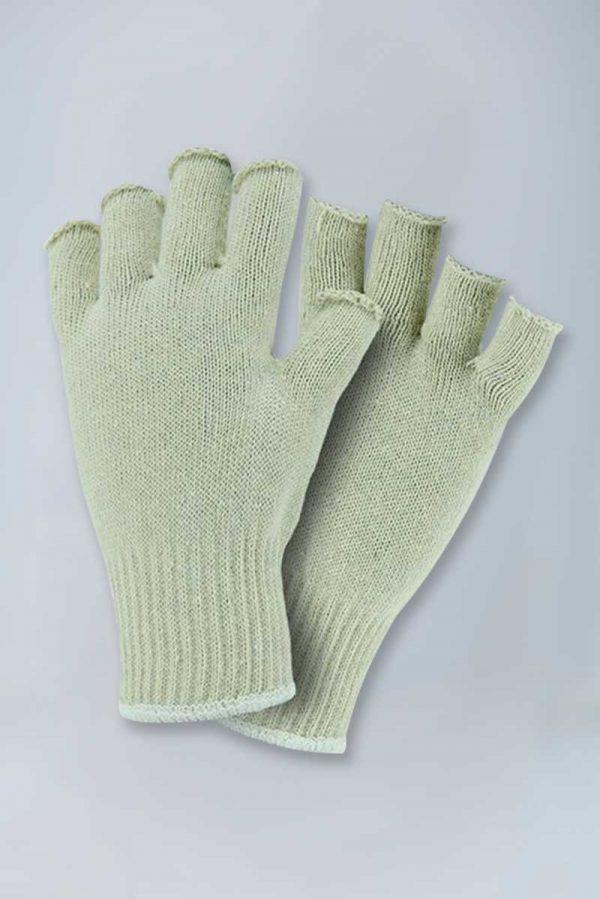 Fingerless string knit cotton gloves - mens womens