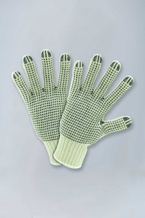 Knit gloves with double-sided plastic dots