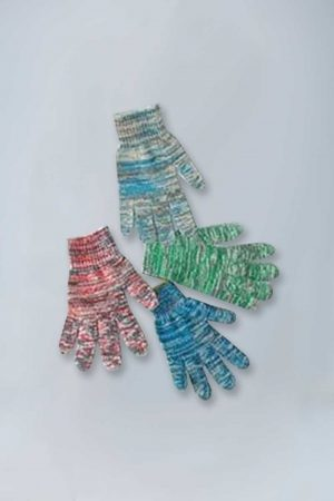 Multi color heavy weight string knit gloves