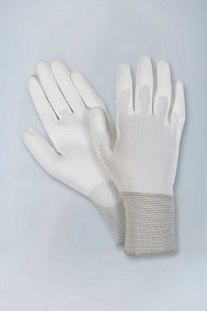 Nylon knit white polyurethane palm coated gloves