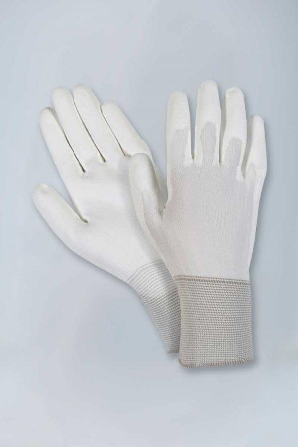 Nylon knit white polyurethane palm coated gloves