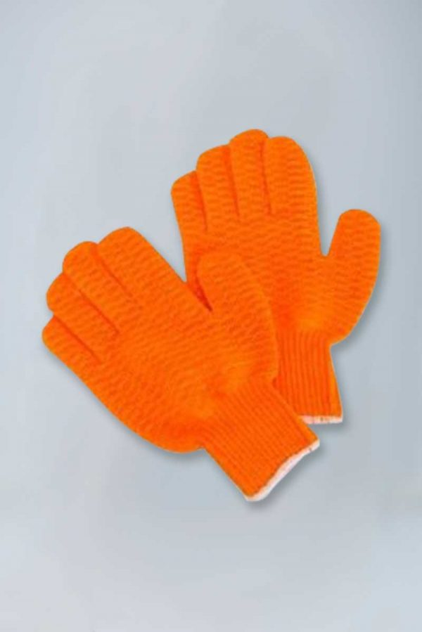 Orange knit honeycomb fishermans gloves