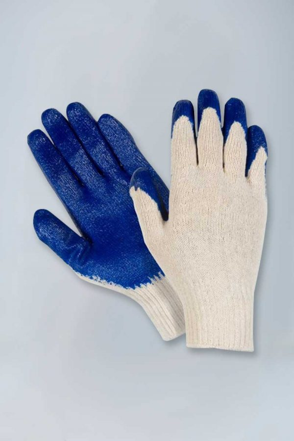 Poly cotton economy blue latex palm coated gloves