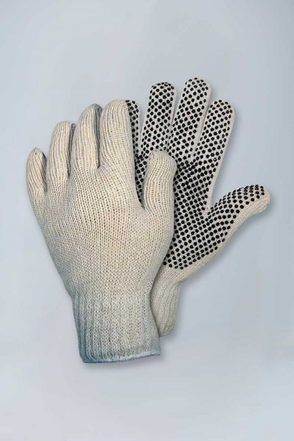 String knit gloves with plastic dots